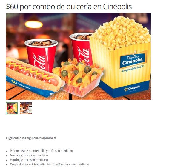 Groupon: $60 por combo de dulcería en Cinépolis (4 opciones)