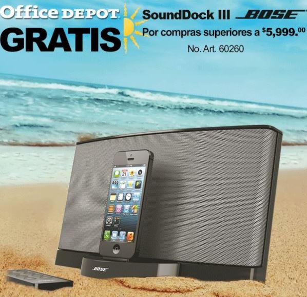 Venta especial verano Office Depot: bocina Bose SoundDock III gratis con compra mínima
