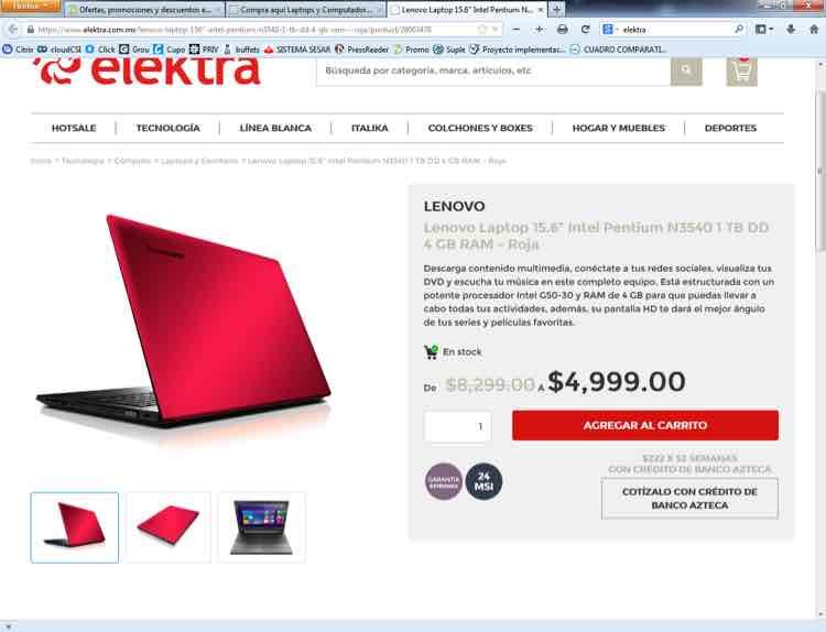 "Oferta de Hot Sale en Elektra: Lenovo Laptop 15.6"" Intel Pentium N3540 1 TB DD 4 GB RAM - Roja"