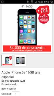 Oferta del Hot Sale en Costco: iPhone 5S 16gb a $5,999