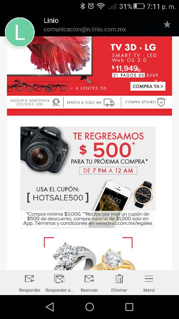 Promocion del Hot Sale en Linio: cashback de $500 en compras de $3,000 ó más de 7 a 12 pm