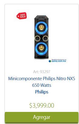 Hot Sale en Sam's Club: Minicomponente Philips Nitro NX5 650 Watts a $3,999 ($3,333 con Sams/Inbursa)