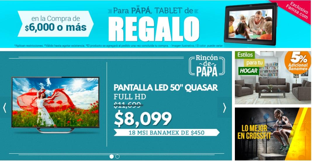 Famsa en Línea: Tablet de regalo en compras mayores a $6,000