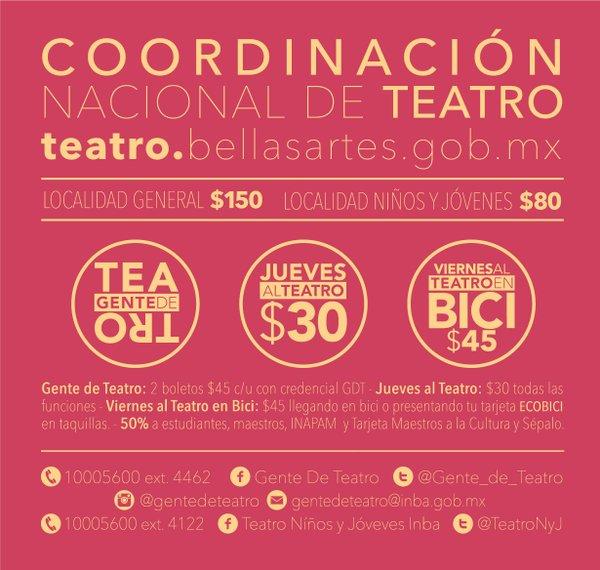 Boletos para el teatro del INBA en $45 con la credencial GDT que es gratis
