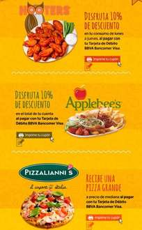 Descuentos en Hooters, Applebee's, Nutrisa, Pizzalianni's y Subway con Visa