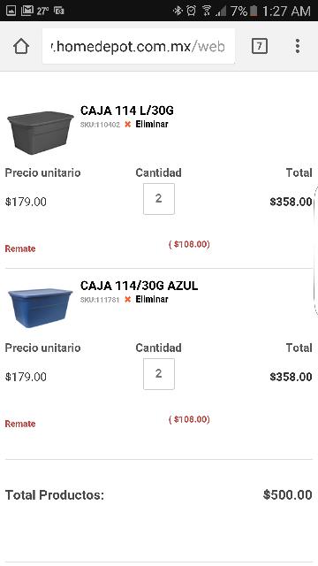 Home Depot en línea: Caja Multiusos Plástico 114L/30G