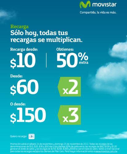 Movistar: saldo extra en recargas hoy y mañana