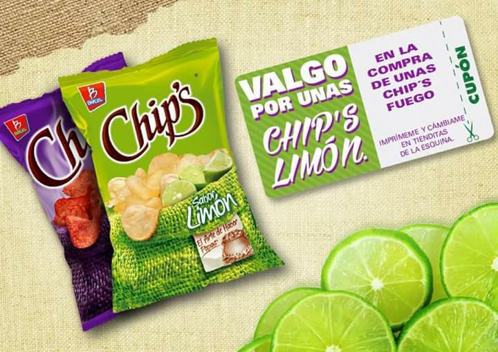 Chips limón gratis en la compra de chips fuego