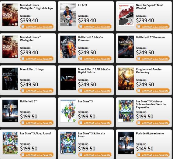 Ofertas de Black Friday de Electronic Arts (Origin). Ejemplo FIFA 13 para PC a $299