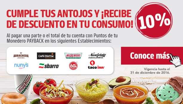 10% de descuento con monedero PayBack en Krispy Kreme, Diletto, Taco Inn y más