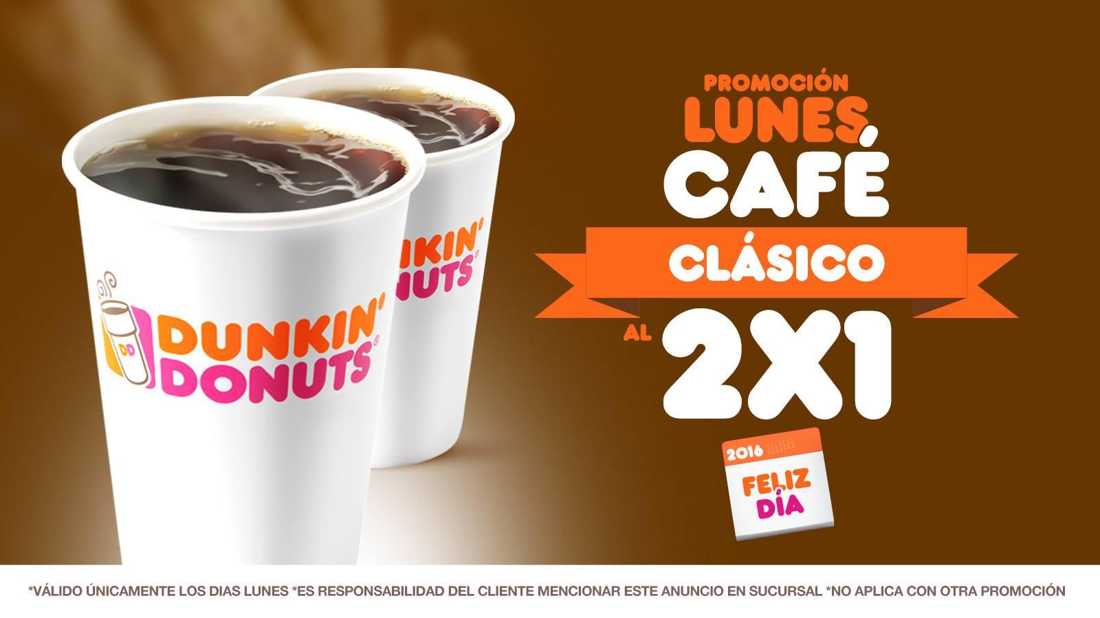 Dunkin Donuts: lunes 2x1 en café clásico