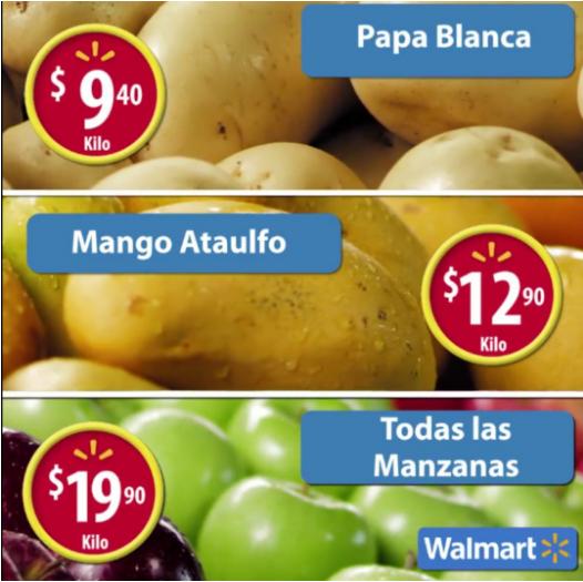 Walmart:  Martes de frescura Manzana, Mango, Papas y Carnes