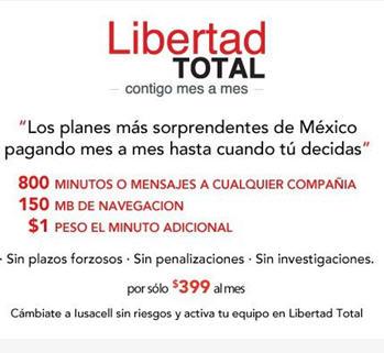 Libertad Total Iusacell: 800 minutos  a México, USA y Canadá y más por $399 sin contrato