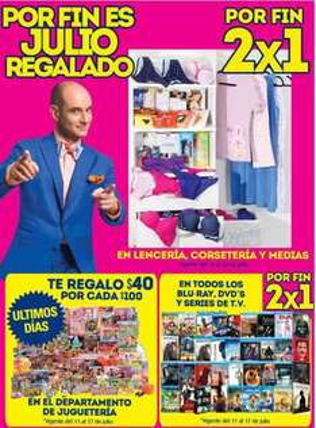 Ofertas de Julio Regalado en La Comer: 2x1 en lencería, corsetería y medias