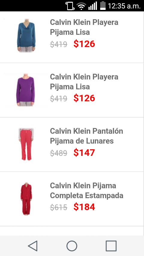 Liverpool en línea: 70% descuento en pijama completa, playeras y pantalón Calvin Klein (Para Mujer)