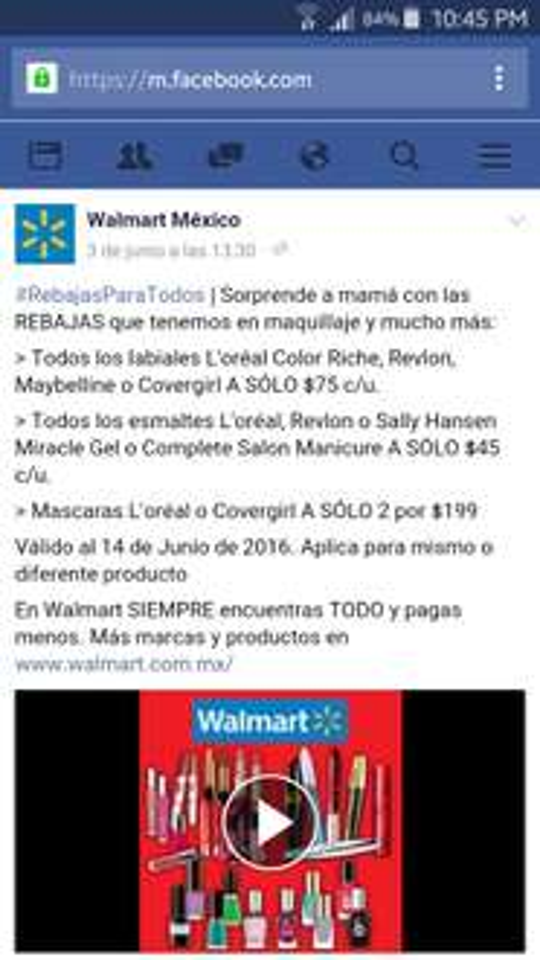 Walmart: Rebajas para todos en maquillaje tienda física y online.