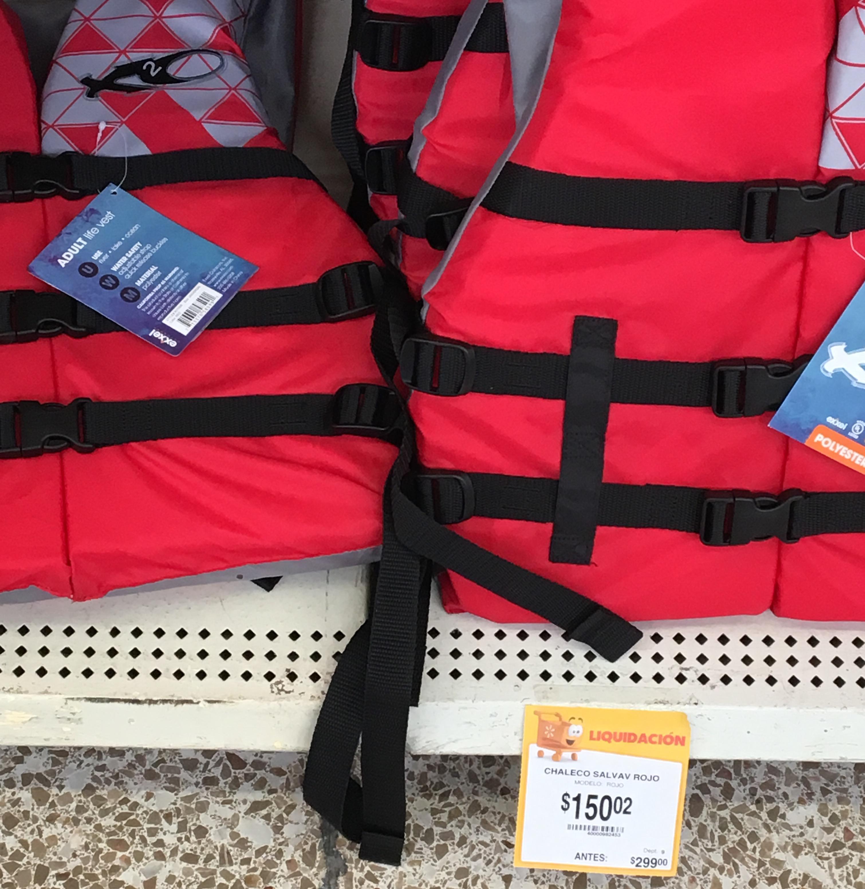 Walmart Suc. Taxqueña CDMX: chaleco salvavidas rojo para adulto marca EXXEL a $150.02, rollo doble pequeño marca Barkys a $12.02