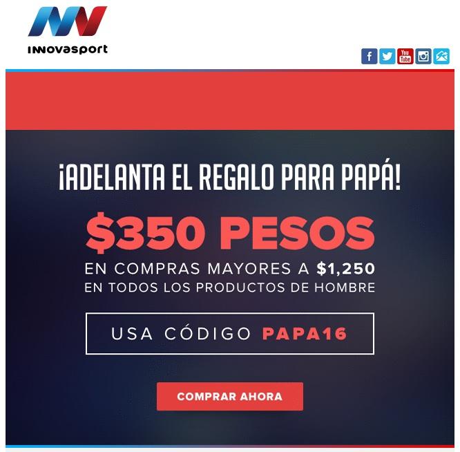 Innovasport: Promo del día del Padre cupón de $350
