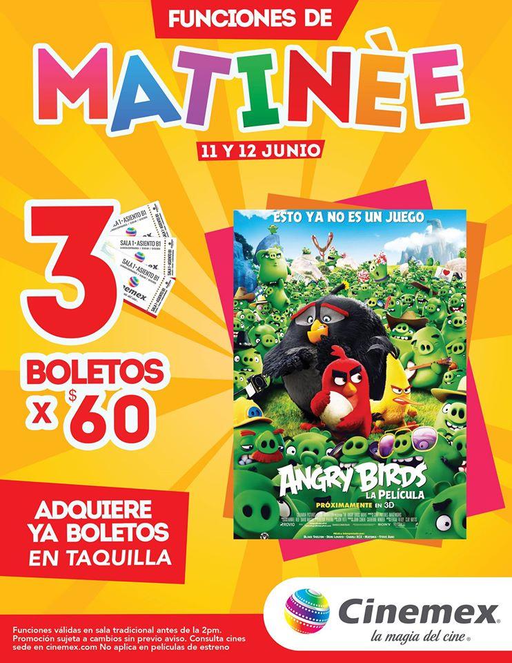 Cinemex: 3 boletos para matinée Angry Birds x $60