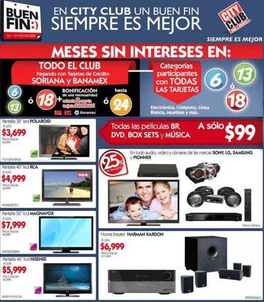 """Ofertas del Buen Fin en City Club: TV LED 40"""" a $4,999, todos los blu-rays a $99 y mucho +"""