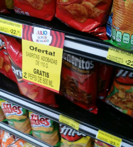 Soriana Híper: Pepsi gratis en la compra de unas papas Sabrías