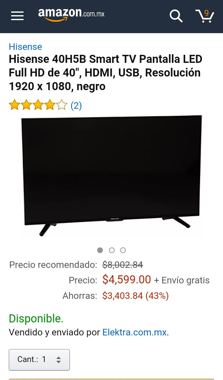 "Amazon: SmartTV Hisense 40H5B 40"" WiFi"