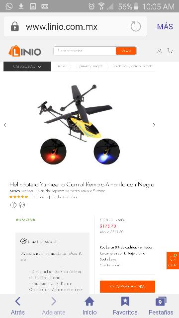 Linio: Helicóptero control remoto de $550 a $179