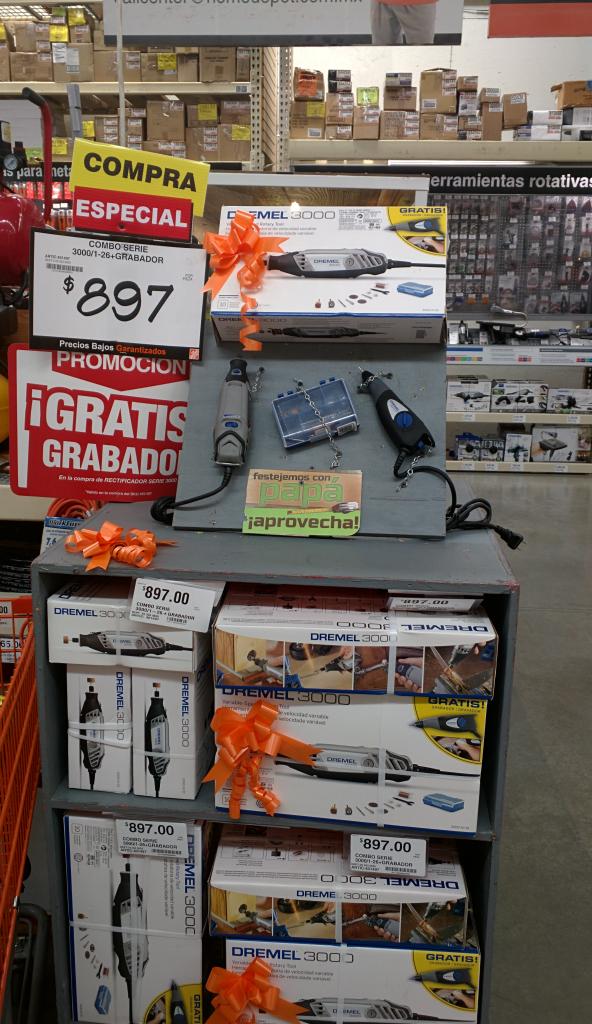 Home Depot Puebla San Pedro: Combo herramienta giratoria Dremel Serie 3000 + grabador