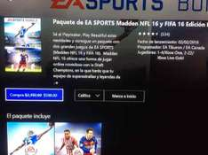 Xbox Live: paquete Ea Sports: FIFA 16 y NFL 16 a $598