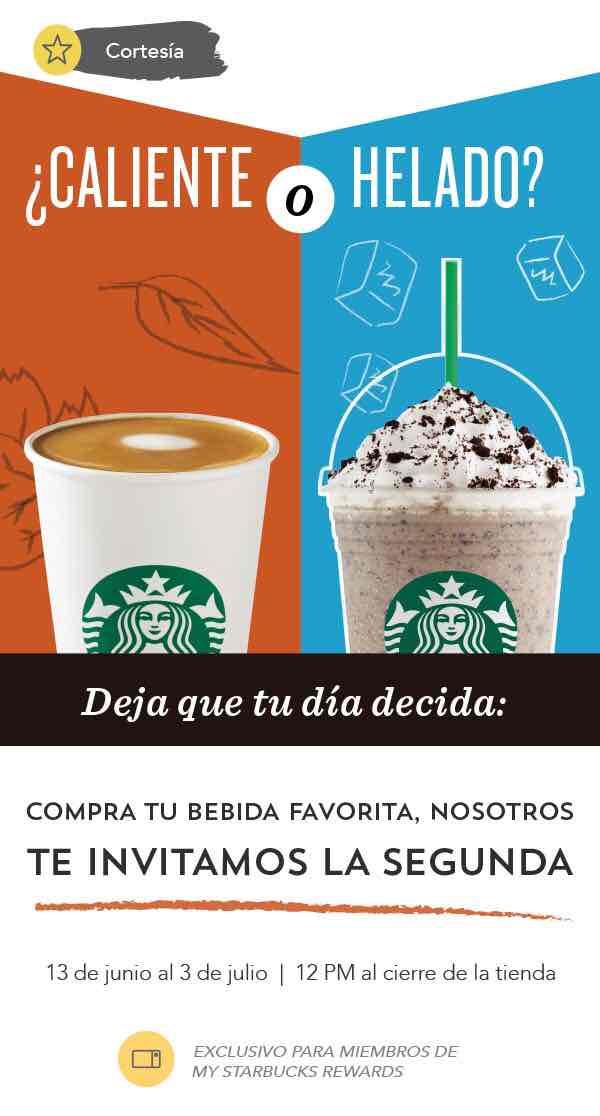 Starbucks: bebida de cortesía, caliente o fría para miembros de My Starbucks Rewards.