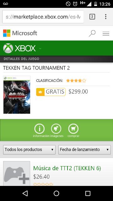 Xbox: Tekken Tag Tournament 2 para Xbox One gratis para miembros Gold
