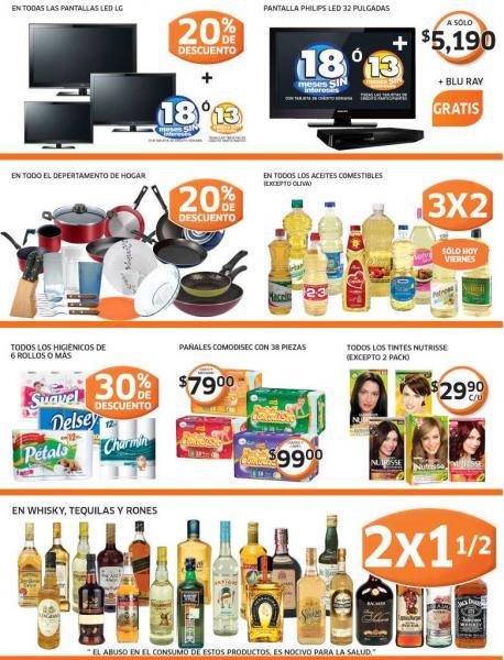 Soriana: 2x1 y medio en licores, 20% de descuento en TVs LED LG y todo el depto de hogar  y +