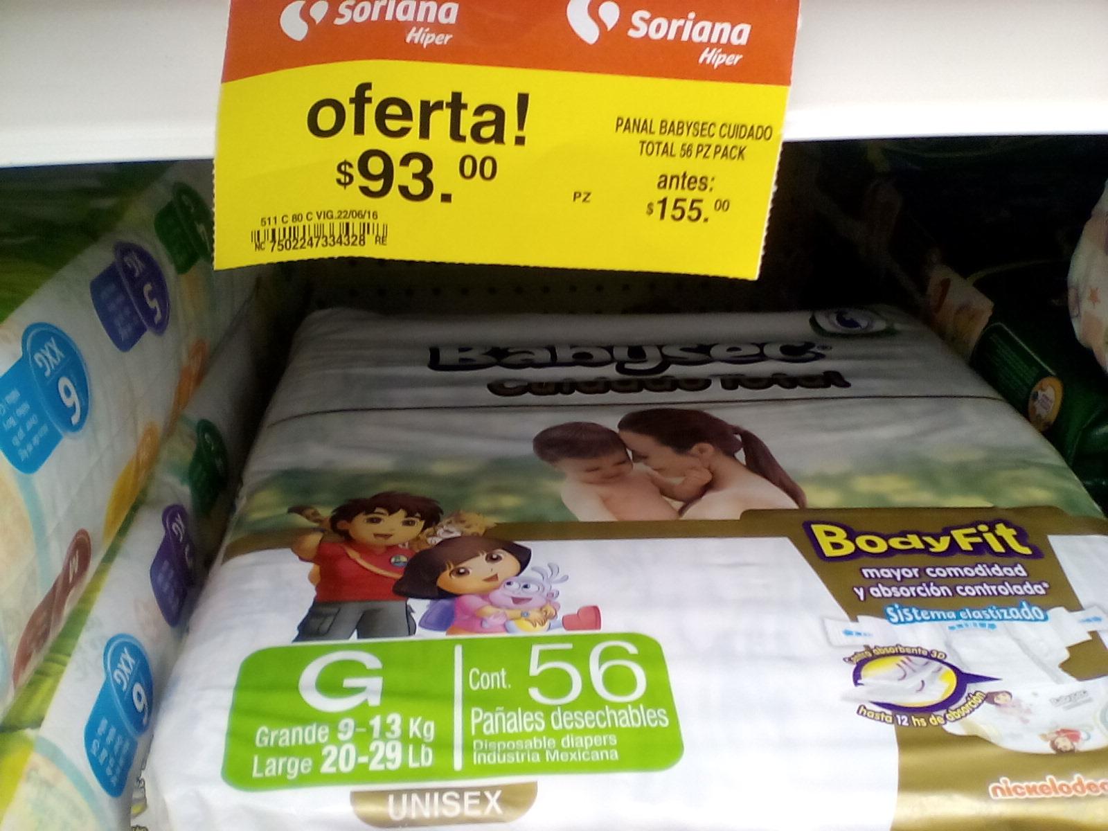 Soriana: Pañales Babysec de 56pz a $93