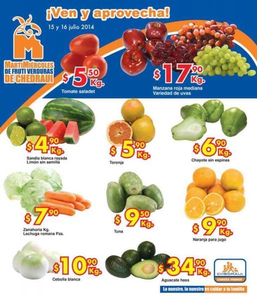 Ofertas de frutas y verduras en Chedraui 15 y 16 de julio: uvas $17.90 el kilo y más