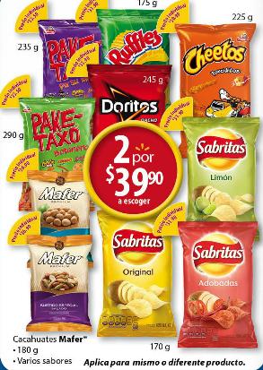 Walmart: Sabritas y variedad de botanas 2 x $39.90