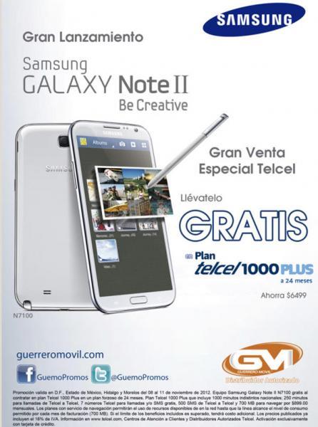 Galaxy Note II gratis en plan Telcel Plus 1000 a 24 meses (R9)