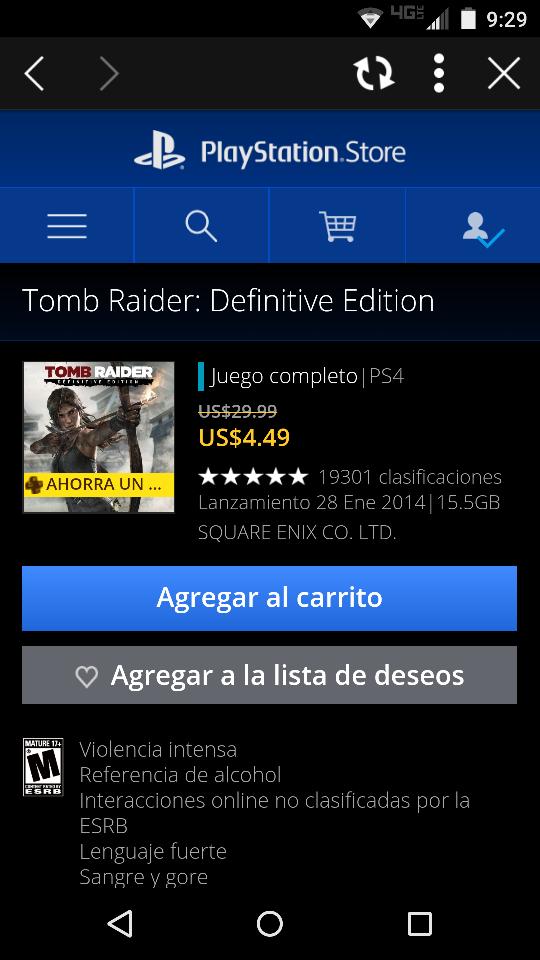 Playstation Network: Tomb Raider a $7.50 dólares o $4.50 dólares para usuarios PS Plus