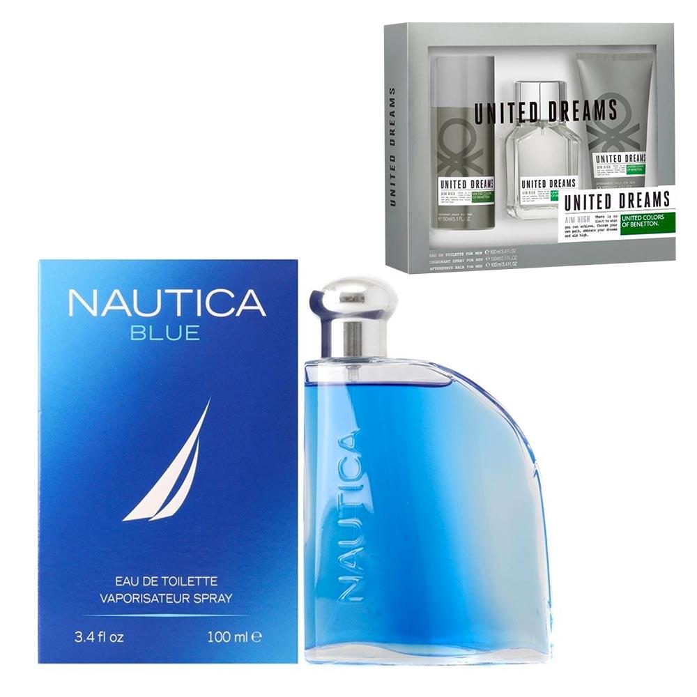 Walmart en línea: loción Nautica Blue Caballero + Set Benetton 3 pzs.
