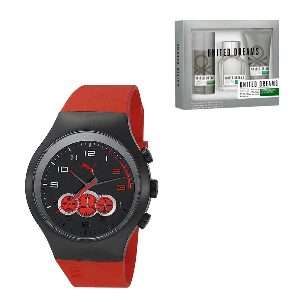 Walmart en línea: reloj Puma Análogo Caballero Correa de Silicón  + loción Benetton