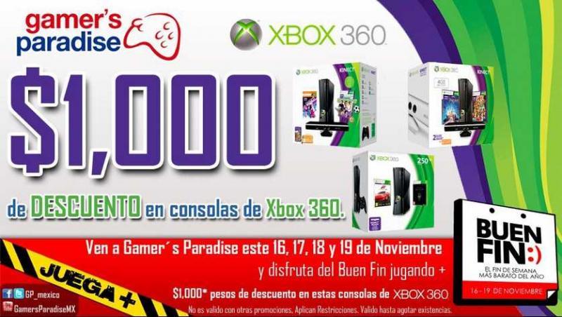 Ofertas del Buen Fin en Gamer's Paradise: $1,300 menos en consolas Xbox 360 y + (actualizado)