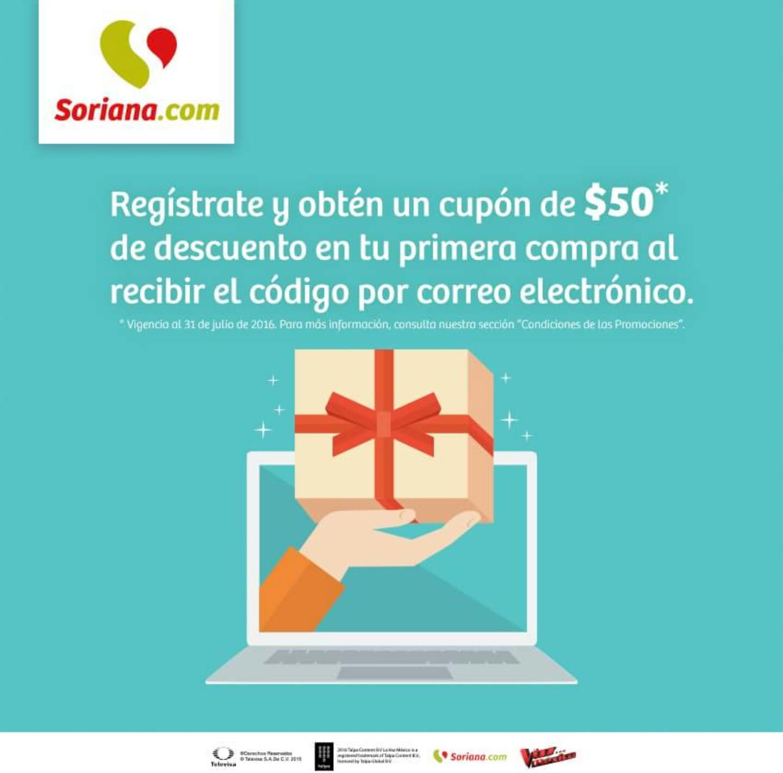 Soriana en línea: cupón de $50 de descuento al suscribirse al newsletter