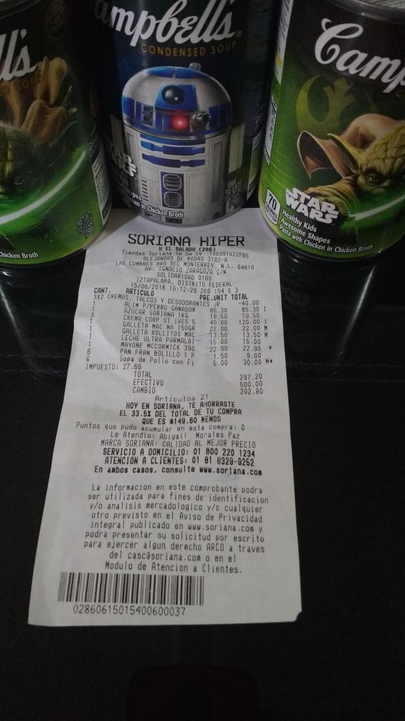 Soriana Híper: sopa StarWars Campbells $5 pesos.