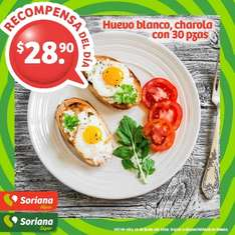 Soriana Híper y Súper (Jueves 16) Huevo Blanco Soriana charola 30 piezas $28.90 o a $9.90 con 150 puntos
