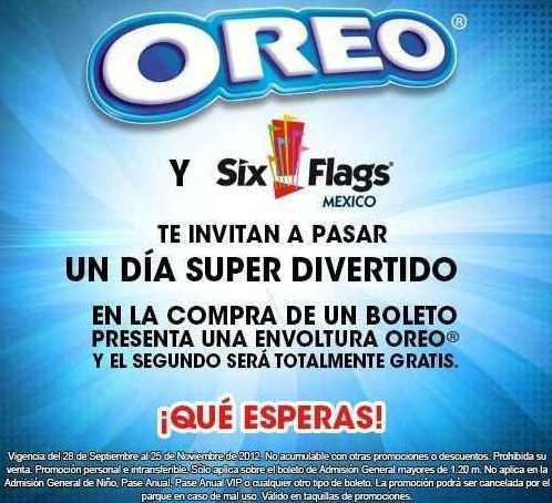 Six Flags: 2x1 llevando envoltura de galletas Oreo o botana Barcel