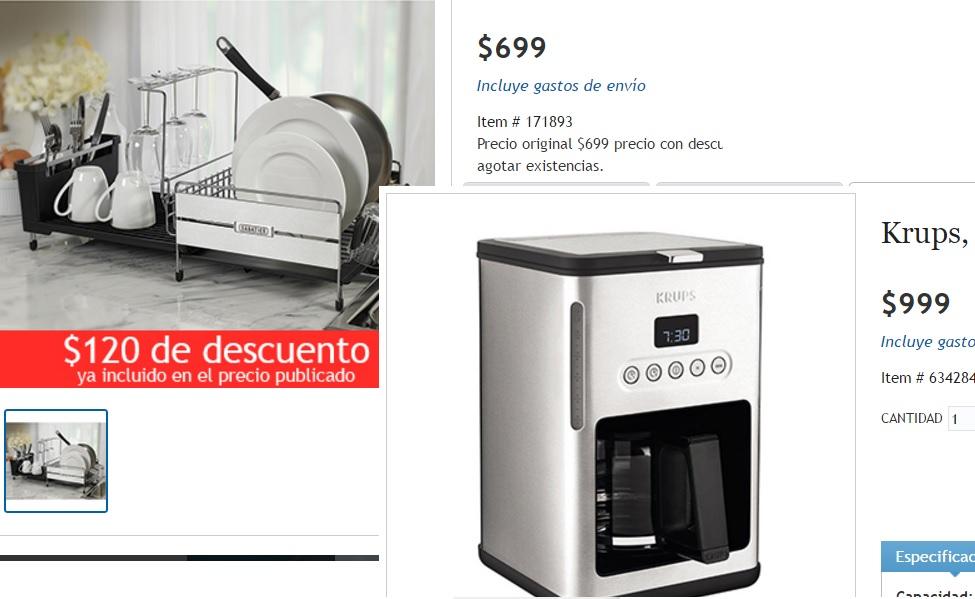 Costco en línea: cafetera Krups y escurridor de vajilla de acero inoxidable a $1,398 aplicando cupón