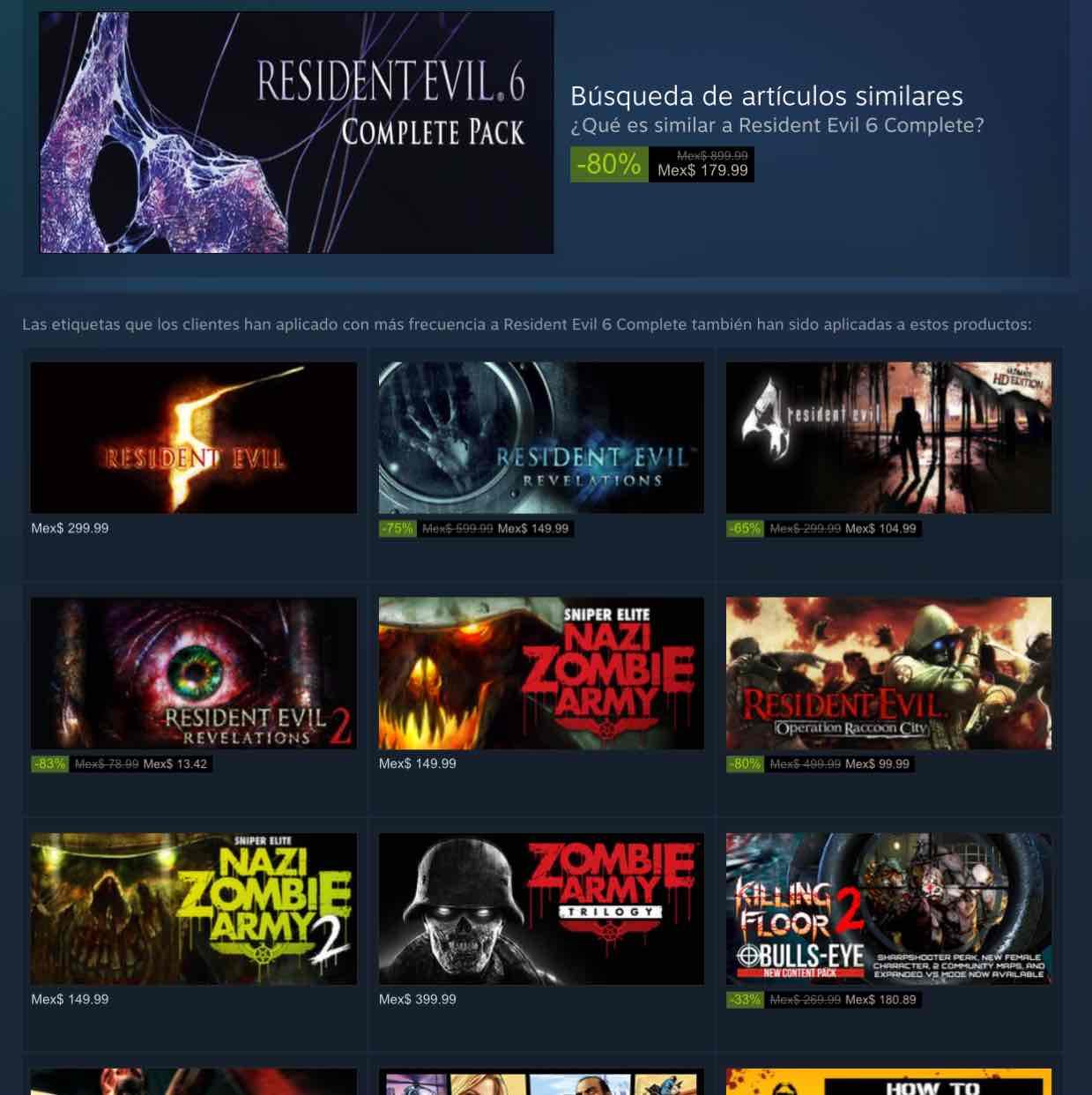 Steam: promoción algunos Resident Evil