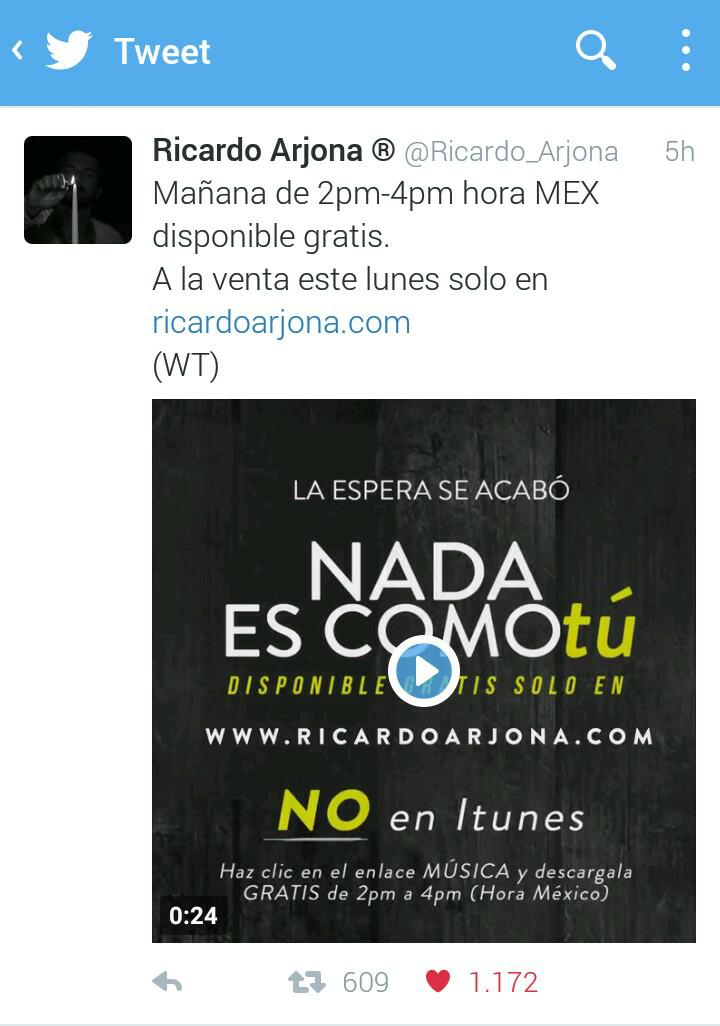 GRATIS nuevo sencillo de Ricardo Arjona (este viernes sólo durante 2 horas)