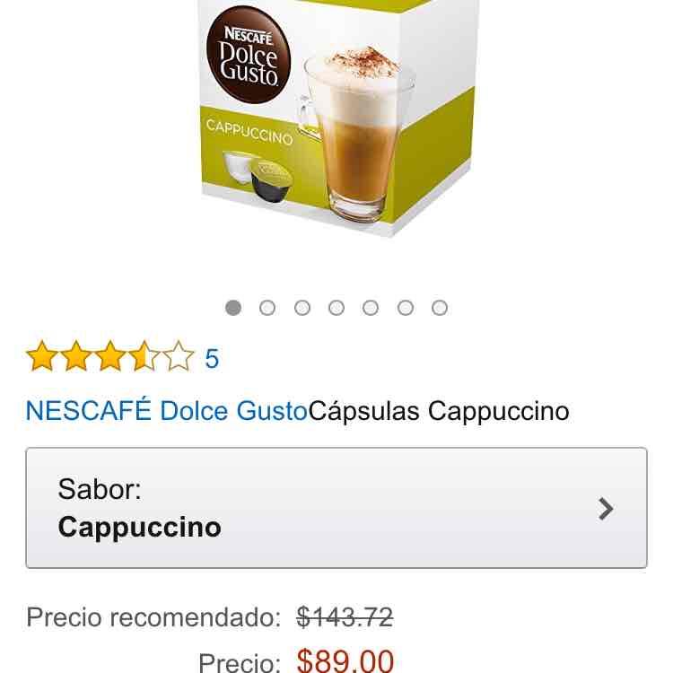Amazon: cápsulas Dolce Gusto sabor capuccino a $89