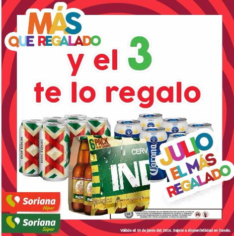 Julio Regalado en Soriana: 3x2 en six de cervezas XX, Tecate, Sol y más