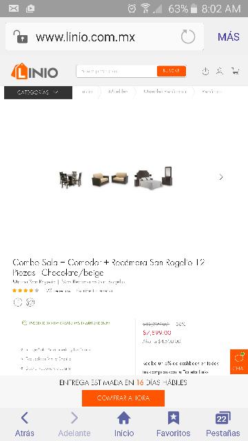 Linio: Combo Sala + Comedor + Recámara San Rogelio 12 Piezas - Chocolate/beige más 15 MSI de $12,399.00 a $7,899.00